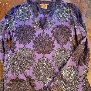 Tory Burch purple and black floral sequins top